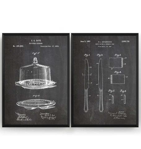 Butter Dish & Knife Set Of 2 Patent Prints