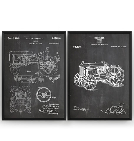 Tractor Set Of 2 Patent Prints - Magic Posters