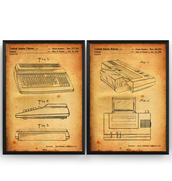 Commodore Computer Set Of 2 Patent Prints - Magic Posters