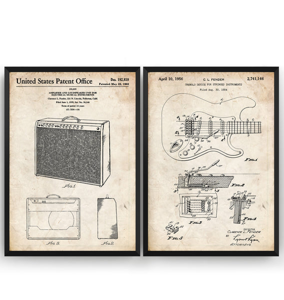 Fender Stratocaster Guitar 1954 + Amplifier 1962 Sets Of 2 Patent Prints - Magic Posters