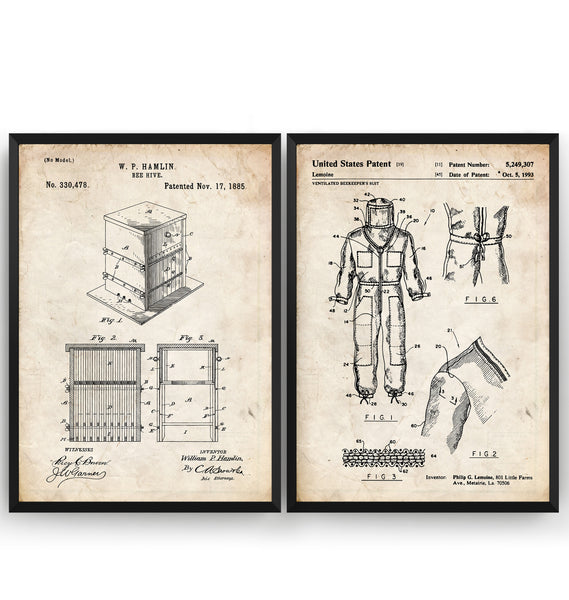 Beekeeper Set Of 2 Patent Prints - Magic Posters