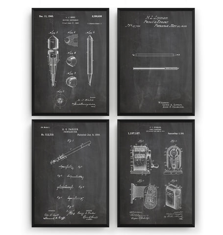 Classroom Set Of 4 Patent Prints