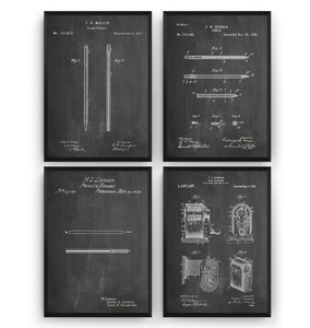 Pencil Set Of 4 Patent Prints