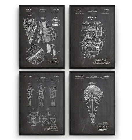 Skydiving Parachute Set Of 4 Patent Prints - Magic Posters