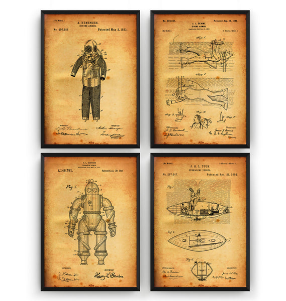 Underwater Nautical Set Of 4 Patent Prints - Magic Posters