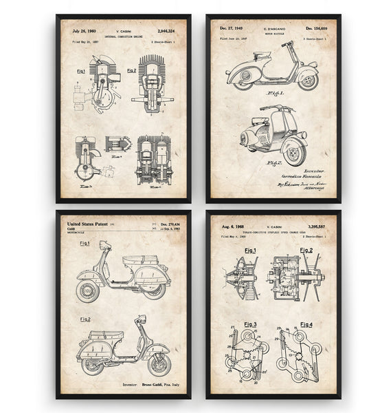 Vespa Scooter Set Of 4 Patent Prints - Magic Posters