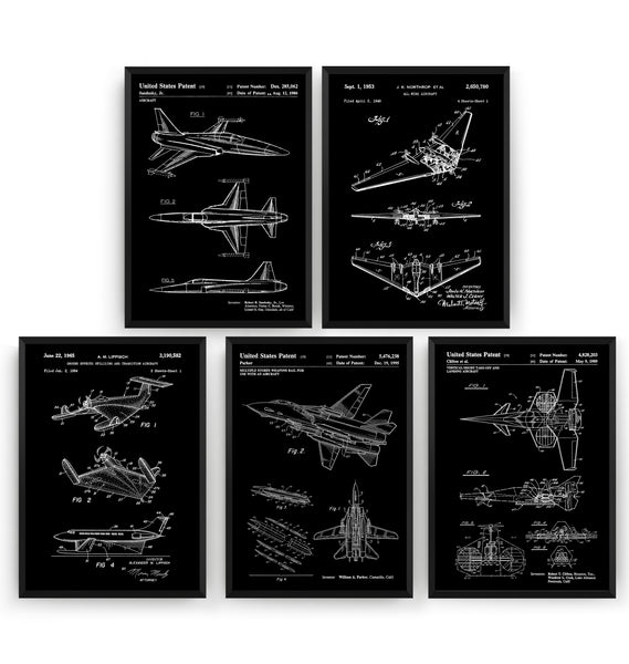 Aircraft Set Of 5 Patent Prints - Magic Posters
