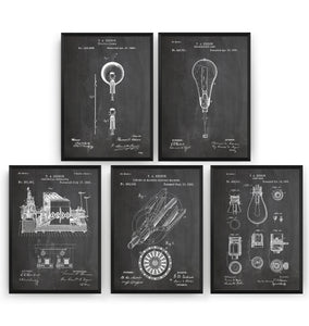 Thomas Edison Set Of 5 Patent Prints - Magic Posters