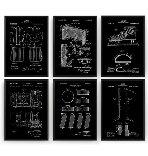 Ice Hockey Set Of 6 Patent Prints V2 - Magic Posters
