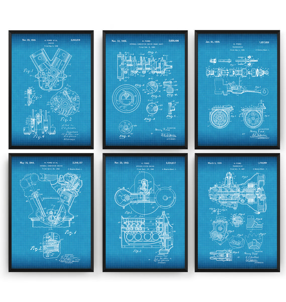 Henry Ford Set Of 6 Patent Prints - Magic Posters