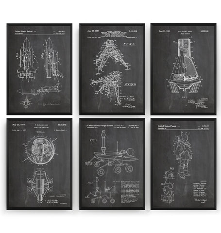 Outer Space Set Of 6 Patent Prints - Magic Posters