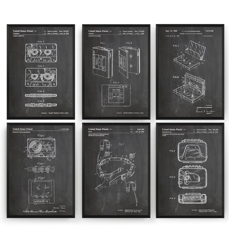 Cassette Player And Tape Set Of 6 Patent Prints