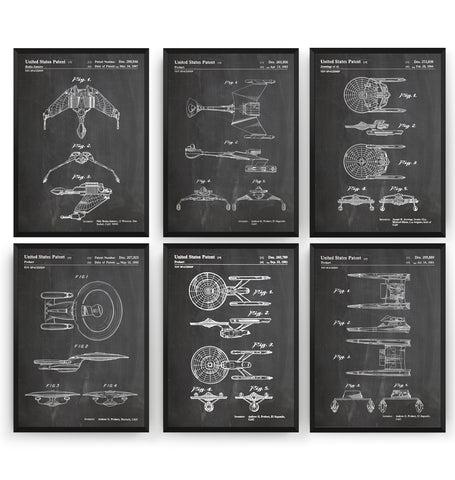 Star Trek Spaceship Set Of 6 Patent Prints - Magic Posters