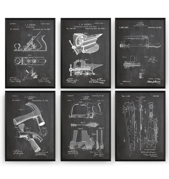 Tools Set Of 6 Patent Prints - Magic Posters