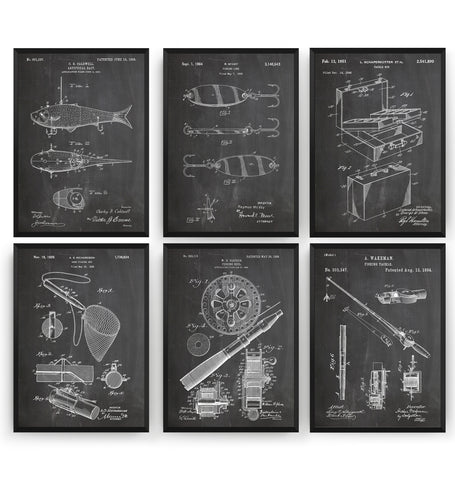 Fishing Set Of 6 Patent Prints - Magic Posters