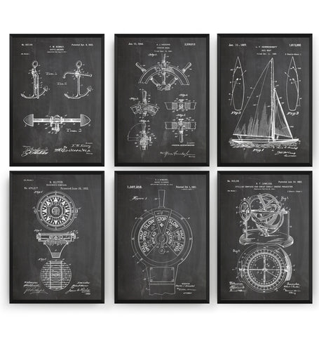 Sailing Set Of 6 Patent Prints - Magic Posters