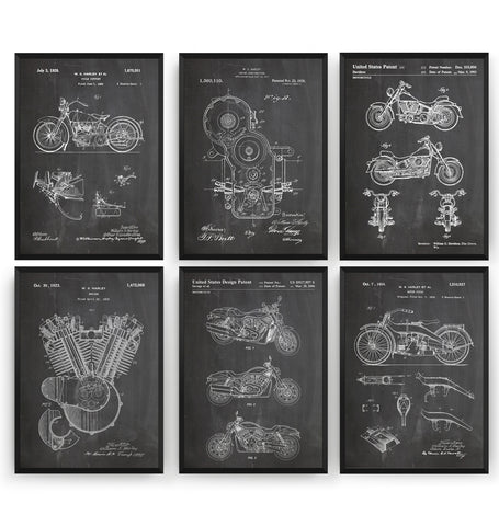 Harley Davidson Set Of 6 Patent Prints - Magic Posters
