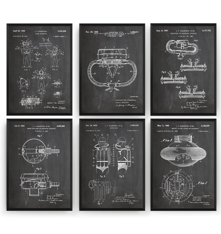 Scuba Diving Set Of 6 Patent Prints - Magic Posters