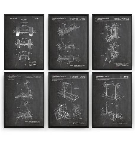 Gym Set Of 6 Patent Prints