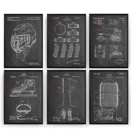 Ice Hockey Set Of 6 Patent Prints - Magic Posters