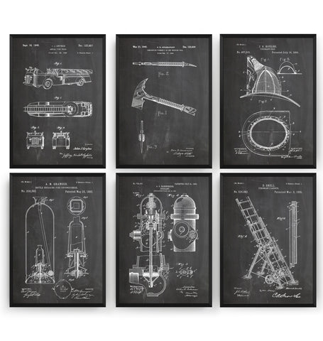 Firefighter Set Of 6 Patent Prints - Magic Posters