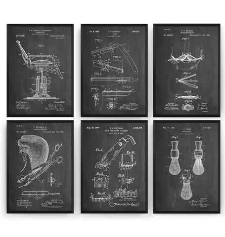 Barbers Set Of 6 Patent Prints V2 - Magic Posters