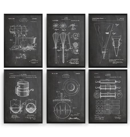 Baking Set Of 6 Patent Prints - Magic Posters