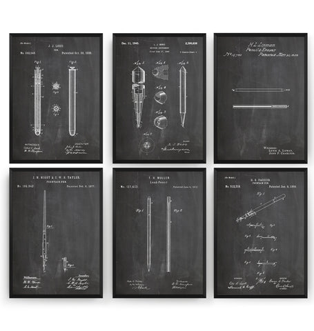 Pen And Pencil Set Of 6 Patent Prints