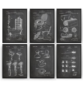 Bathroom Set Of 6 Patent Prints - Magic Posters