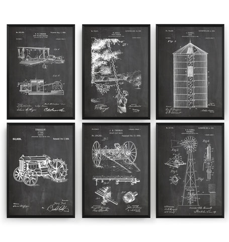 Farming Set Of 6 Patent Prints - Magic Posters