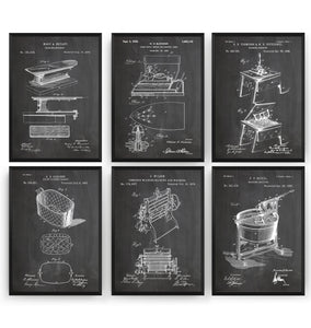 Laundry Set Of 6 Patent Prints - Magic Posters