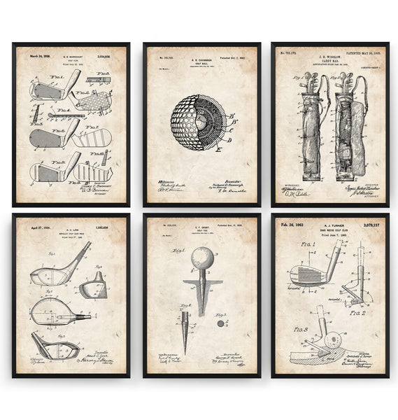 Golf Set Of 6 Patent Prints - Magic Posters
