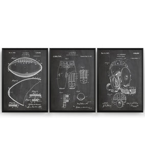 American Football Set Of 3 Patent Prints - Magic Posters