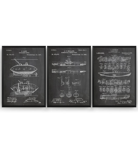 Submarine Set Of 3 Patent Print - Magic Posters