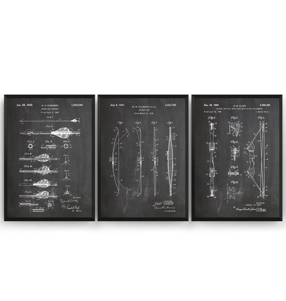 Archery Set Of 3 Patent Prints - Magic Posters