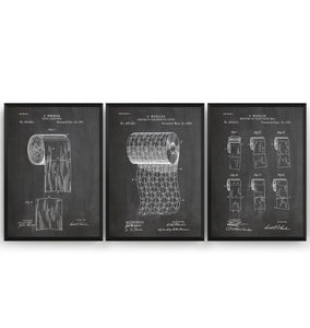 Toilet Roll Set Of 3 Patent Prints - Magic Posters