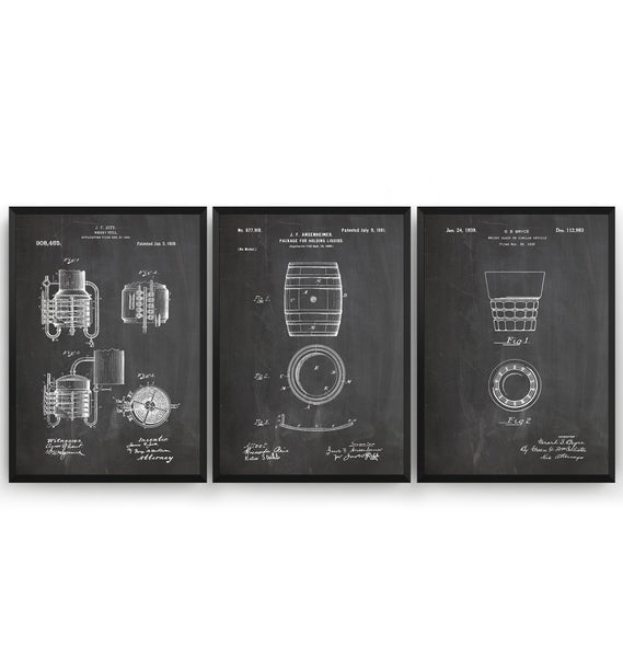 Whiskey Set Of 3 Patent Prints - Magic Posters