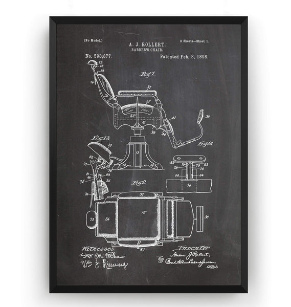 Barbers Chair Patent Print - Magic Posters