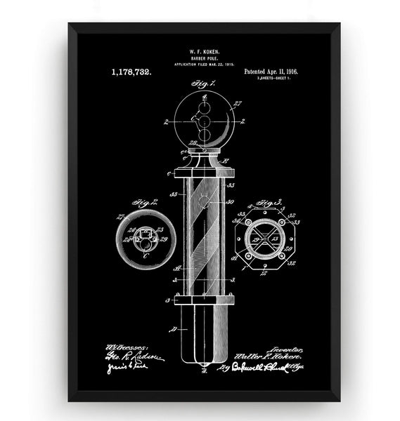 Barbers Pole Patent Print - Magic Posters
