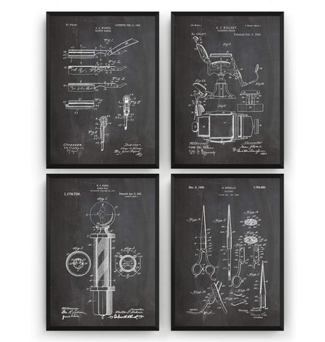 Barbers Set Of 4 Patent Prints - Magic Posters