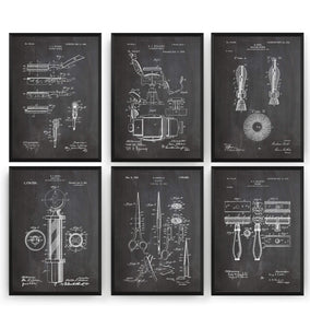 Barbers Set Of 6 Patent Prints - Magic Posters