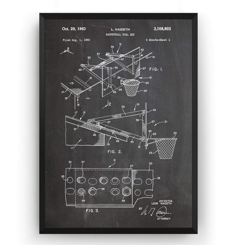 Basketball Goal 1963 Patent Print - Magic Posters