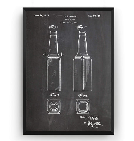 Beer Bottle 1934 Patent Print - Magic Posters