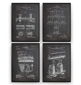 Beer Brewing Set Of 4 Patent Prints - Magic Posters