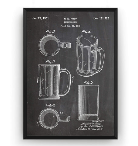 Beer Mug 1951 Patent Print - Magic Posters