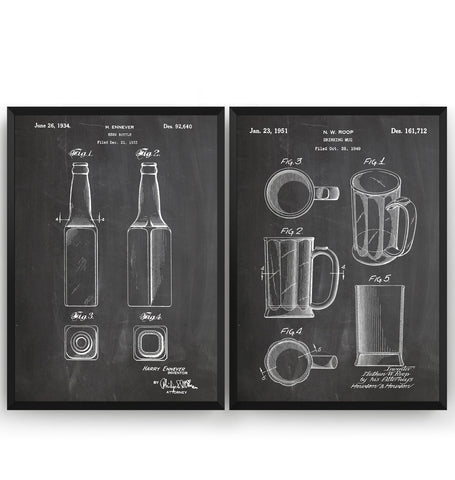 Beer Mug And Bottle Set Of 2 Patent Prints - Magic Posters