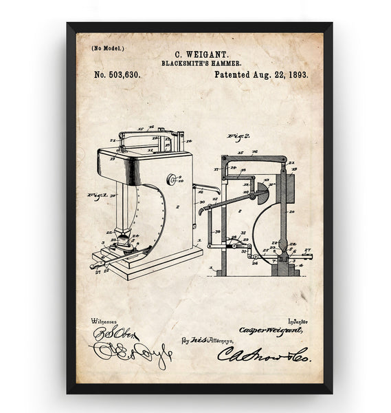 Blacksmith Hammer 1893 Patent Print - Magic Posters