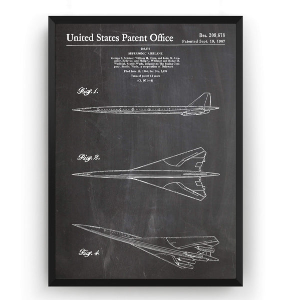 Boeing Supersonic Airplane 1967 Patent Print - Magic Posters