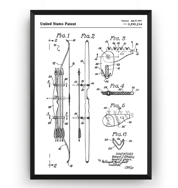 Bow and Arrow Magazine Quiver 1971 Patent Print - Magic Posters