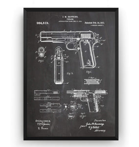 Browning 1911 Handgun Patent Print - Magic Posters
